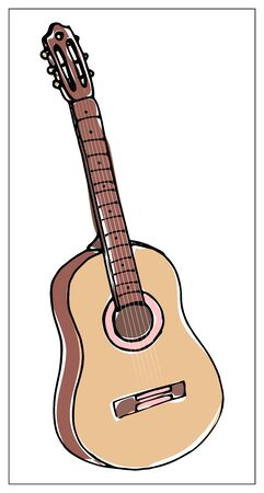 Vector greeting card with guitar. Cartoon colored isolated objects on a white background. Multicolored hand drawn illustration.
