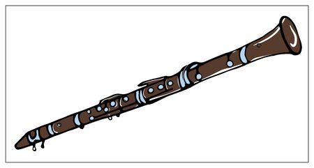 Cartolina d'auguri di vettore con clarinetto. Oggetti isolati colorati del fumetto su una priorità bassa bianca. Illustrazione disegnata a mano multicolore. Vettoriali