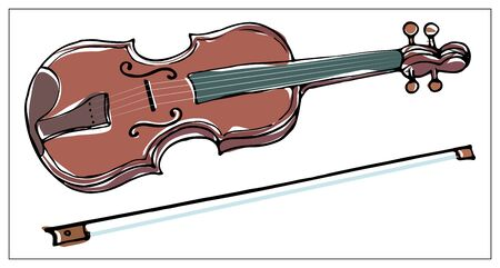 Vector greeting card with violin. Cartoon colored isolated objects on a white background. Multicolored hand drawn illustration.