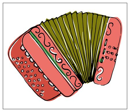 Vector greeting card with accordion. Cartoon colored isolated objects on a white background. Multicolored hand drawn illustration. Illustration