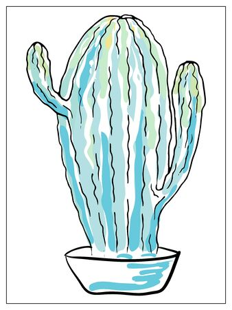 Vector greeting card with cactus. Cartoon colored isolated objects on a white background. Multicolored hand drawn illustration.