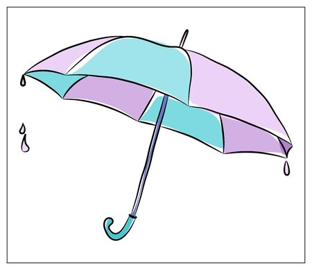 Vector illustration with Umbrella. Isolated object on a white background. Multicolored hand drawn illustration.