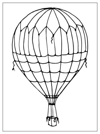 Vector isolated balloon on white background. Many striped air balloons flying in the clouded sky. Travel and vacation. Outline style
