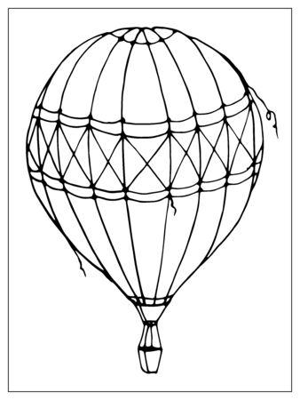 Vector globo aislado sobre fondo blanco. Muchos globos aerostáticos rayados volando en el cielo nublado. Viajes y vacaciones. Estilo de esquema