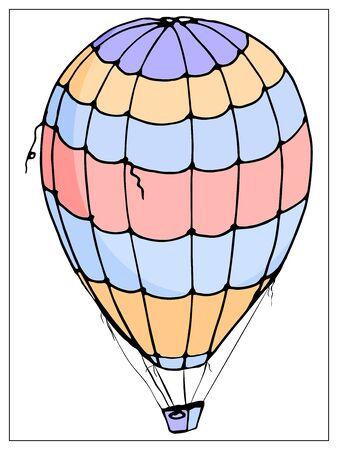 Vektor lokalisierter Ballon auf weißem Hintergrund. Viele gestreifte Luftballons fliegen in den bewölkten Himmel. Reisen und Urlaub.