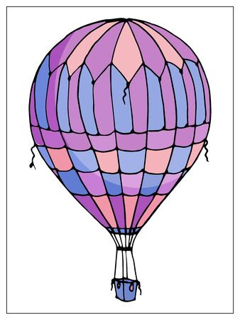 Vector isolated balloon on white background. Many striped air balloons flying in the clouded sky. Travel and vacation. Illusztráció