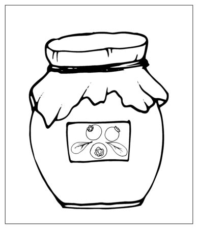 Vector silhouette jar of jam. Isolated object on a white background. Linear hand drawn illustration. Outline style