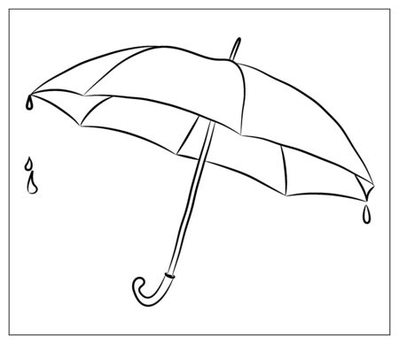 Vector silhouette Umbrella. Isolated object on a white background. Linear hand drawn illustration. Outline style