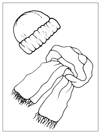 Modern winter knitted hat and scarf. Isolated object on a white background. Linear hand drawn illustration. Outline style