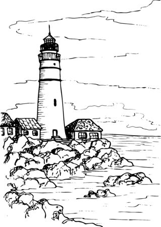 Paesaggio vettoriale con un faro su una spiaggia rocciosa e piccole case di pescatori. Costa, spiaggia e mare. Sagome nere isolate su sfondo bianco. Disegno di schizzo, stile di disegno del contorno.