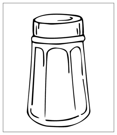 Vector salt shaker. Outline illustration with Kitchen Utensils isolated on a white background. Template for graphic design of packaging, backgrounds, banners or menu. Vector stock illustration