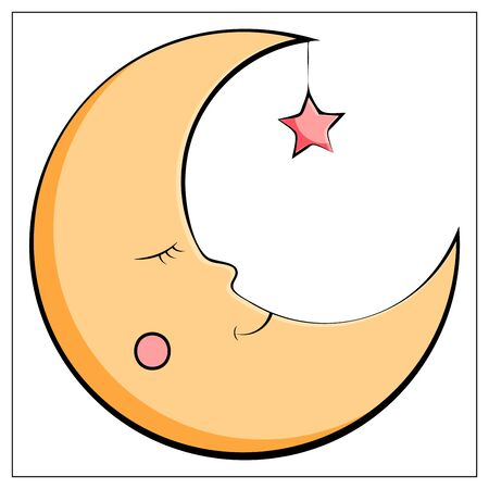 Flat Moon Icon. Night symbol. Vector stock illustration. Yellow moon isolated on a white background. Vettoriali