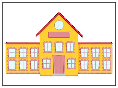 School building vector flat icon isolated on white. Flat icon, vector sign, pictogram, logo illustration. Vector stock illustration 向量圖像