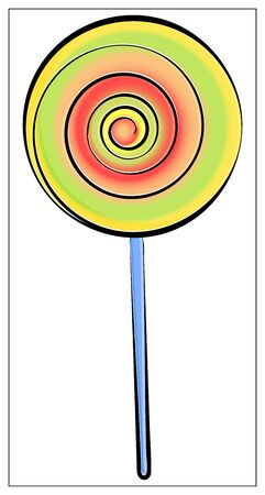 Vector lollipop flat icon. Single high quality symbol of candy for web design or mobile app. Flat signs of sweetmeats for design, visit card, etc. Color pictogram of lollipop Çizim