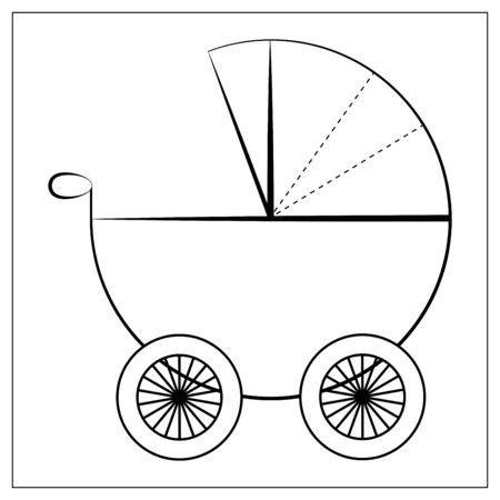 Vector baby stroller flat icon. Single high quality symbol of baby pram for web design or mobile app. Flat signs of stroller for design , visit card, etc. Color pictogram of stroller Illustration