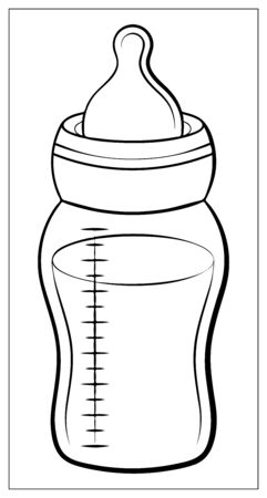 Baby bottle silhouette with a scale and a nipple, isolated on white background. Vector bottle flat icon. Single high quality outline symbol of bottle for web design or mobile app.