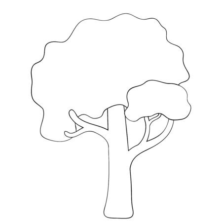 Vector silhouette of deciduous tree. Stylized contour for logo design, clothing decoration, tattoo or greeting card. Isolated stock illustration on a white background.