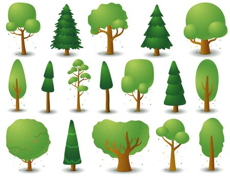 Big set of vector silhouettes of deciduous and coniferous trees. Game UI flat. Stylized spruce for logo design, decorating clothes, build 2D games or cards. Isolated illustration on white background. Иллюстрация