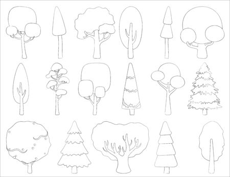 Big set of vector silhouettes of deciduous and coniferous trees. Stylized contour for logo design, clothing decoration, tattoo or greeting card. Isolated stock illustration on a white background. Иллюстрация