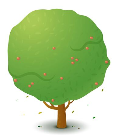 Vector green apple tree in spring and summer. Game UI flat. Stylized drawing for logo design, decorating clothes, build 2D games or postcards. Isolated stock illustration on white background. Illustration