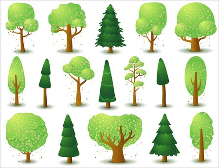 Big set of vector deciduous with pink flowers and coniferous trees. Game UI flat. Stylized tree for logo design, clothing decor, creating 2D games or cards. Isolated illustration on a white background