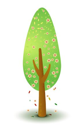 Vector green tree with pink flowers in spring and summer. Game UI flat. Stylized drawing for logo design, decor clothes, build 2D games or postcards. Isolated stock illustration on white background. Illustration