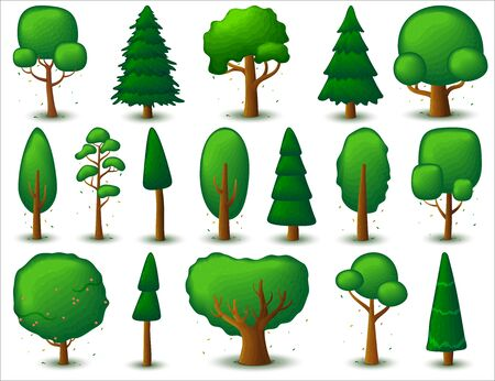 Big set of deciduous and coniferous trees. Game UI flat. Stylized tree for design, clothing decor, creating 2D games or cards. Isolated illustration on a white background.