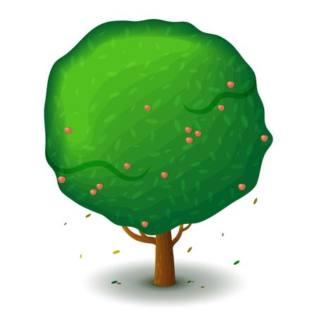 green apple tree. Game UI flat. Stylized drawing for design, decorating clothes, build 2D games or postcards.