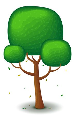 green tree in spring and summer. Game UI flat. Stylized drawing for design, decorating clothes, build 2D games or postcards.