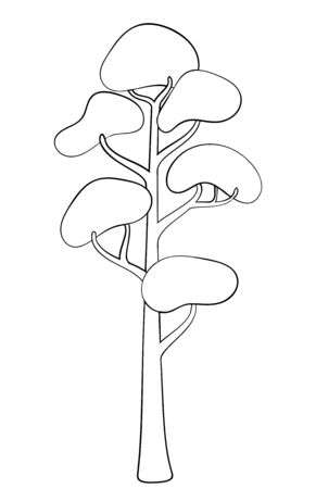silhouette of deciduous tree. Stylized contour for design, clothing decoration, tattoo or greeting card.