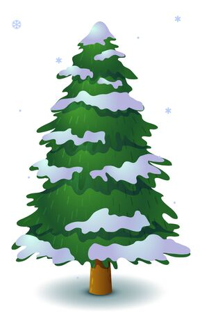 Vector green snowy coniferous tree. Game UI flat. Stylized spruce for logo design, decorating clothes, build 2D games or postcards. Isolated stock illustration on white background.