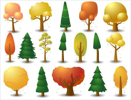 Big set of vector deciduous and coniferous trees in autumn season. Game UI flat. Template for logo design, clothing decor, creating 2D games or cards. Isolated illustration on a white background.