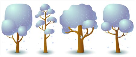 Set of vector snowy tree in winter. Game UI flat. Stylized drawing for logo design, decorating clothes, build 2D games or postcards. Isolated stock illustration on white background.