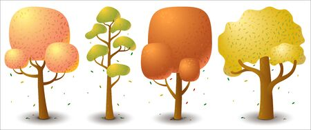 Set of vector tree in autumn season. Game UI flat. Template for logo design, decorating clothes, build 2D games or postcards. Isolated stock illustration on white background. Logo