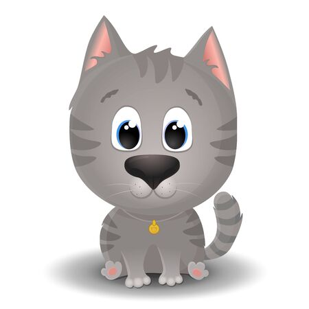 Vector cute gray tabby cat with big eyes in cartoon style. Little kitten sits and smiles. Flat character illustration isolated on white background Illustration