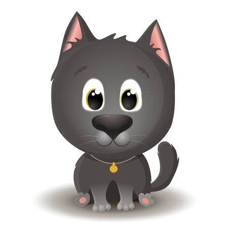 Vector cute black cat with big eyes in cartoon style. Little kitten sits and smiles. Flat character illustration isolated on white background