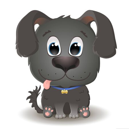Vector cute black dog with big eyes in cartoon style. Labrador Retriever Puppy sits and smiles. Flat character illustration isolated on white background