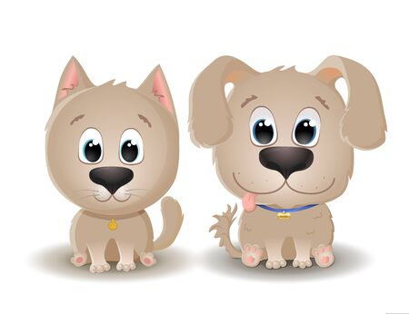 Vector cute beige dog and cat with big eyes in cartoon style. Little kitten and Puppy sits and smiles. Flat character illustration isolated on white background