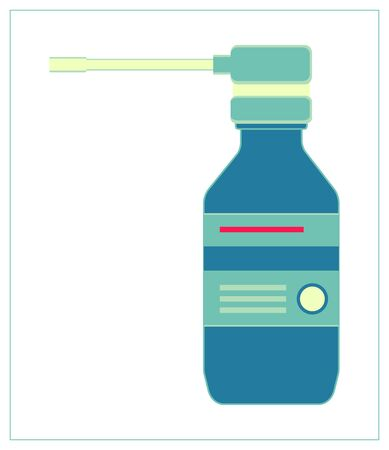 Vector flat illustration with a bottle with medicine throat spray, aerosol medication container.