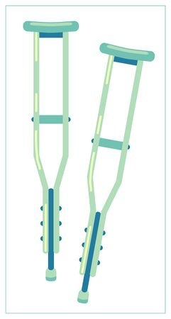 Vector flat illustration with Metal telescopic Crutches icon. Illustration
