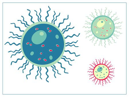 Vector flat illustration with a bacteria, virus, cells, germs or epidemic bacillus. Vectores