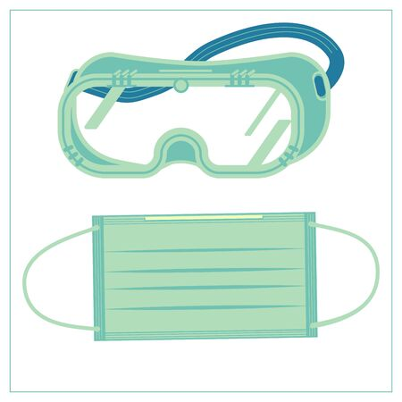 Vector flat illustration with a medical protective fabric mask and safety glasses, goggles. Stylized drawing for your web site design, logo, app, UI. Isolated stock illustration on white background. Logo