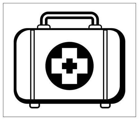 Vector illustration with outlines of first aid box. Medical case. Stylized drawing for your web site design, logo, app, UI. Isolated stock illustration on white background.