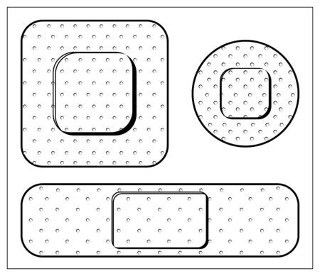 Set of vector illustration with outlines of injury tape plaster of various shapes. Stylized drawing for your web site design, logo, app, UI. Isolated stock illustration on white background.