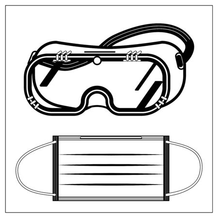 Set of vector illustration with outlines of medical protective fabric mask and safety glasses, goggles. Stylized drawing for your web site design, logo, app, UI. Isolated stock illustration on white