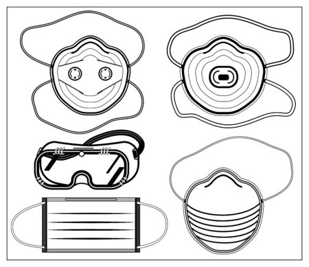 Set of vector illustration with outlines of medical professional protective mask and safety glasses, goggles. Stylized drawing for your web site design, logo, app, UI. Isolated illustration on white