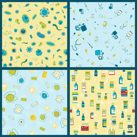 Set of vector seamless pattern with Medical supplies, accessories and attributes. Pills, bacteria, mask and more. Ilustrace