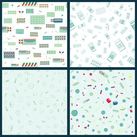 Set of Vector seamless pattern with packing blister with capsules and plastic jar for tablets. Isolated stock illustration
