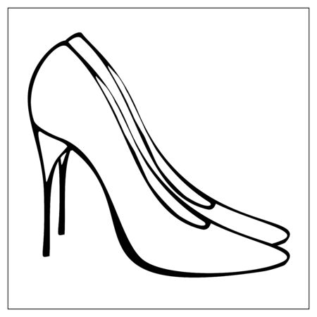 Vector illustration with outlines of Womens high heeled shoes. Stylized drawing for your web site design, logo, icon, app, UI. Isolated stock illustration on white background. Cartoon style