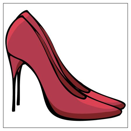 Vector illustration with a red womens high heeled shoes. Stylized drawing for your web site design, logo, icon, app, UI. Isolated stock illustration on white background. Cartoon sexy style